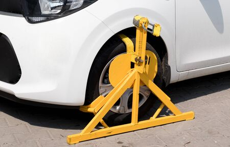 Car wheel blocked