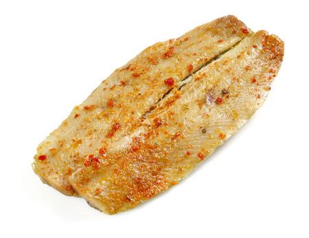 Smoked mackerel isolated on white background