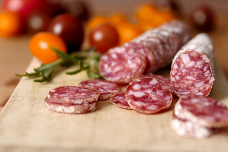 Sliced french salami with mold