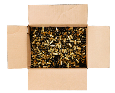 Gun bullets in carton box Zdjęcie Seryjne
