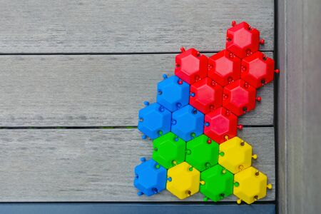 The concept of a united group is a multitude of different hexagons, connected and inextricably linked with each other, as an inextricable chain, as a metaphor for trust and community faith