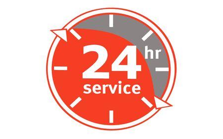 24/7-service. logo met een klok in rood. spandoek. 24-uurs helpconcept. de klok rond werken. geïsoleerd Stockfoto