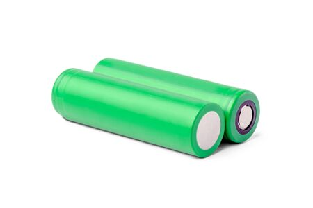 18650 rechargeable lithium-ion batteries. isolated on a white background. batteries for flashlights, vapes, electronic cigarettes, laptops