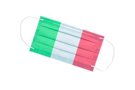 facial medical mask with the flag of Italy on the front side, isolated on a white background. virus outbreak concept. coronavirus in italy. medical background