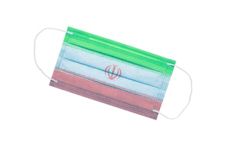 medical face mask with flag of iran isolated on a white background. pandemic concept in Iran. attribute of Iranian doctors. coronavirus in Iran. Iran pollution news background