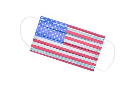 facial medical mask with usa flag isolated on a white background. USA pandemic concept. Coronavirus in America. USA medical background. US Pollution Subject 免版税图像