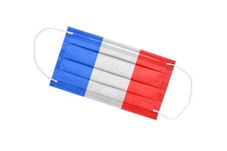 Medical mask with france flag isolated on a white background. pandemic concept in france. attribute of coronavirus outbreak in France. Medicine in France.