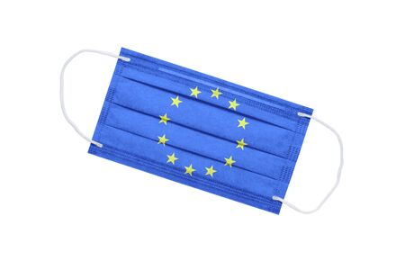 Medical mask with flag of european union isolated on white background. pandemic concept in Europe. attribute of coronavirus outbreaks in the European Union. Medicine in Europe. 免版税图像
