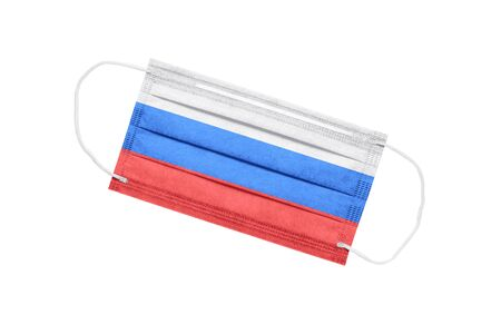 Medical face mask with flag of russia isolated on white background. pandemic concept in Russia. attribute of coronavirus outbreak in Russia. Medicine in Russia.