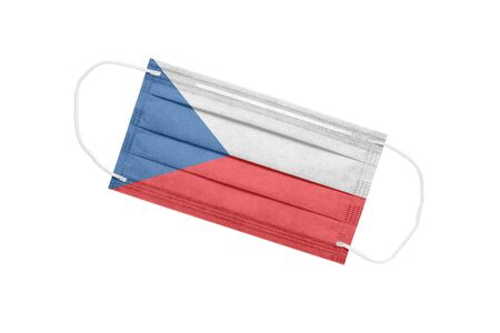 Medical face mask with Czech flag isolated on a white background. Czech pandemic concept. attribute of a coronavirus outbreak in the Czech Republic. Medicine in the Czech Republic.