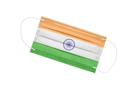 Medical mask with flag of india isolated on white background. pandemic concept in india. attribute of coronavirus outbreak in India. Medicine in India.