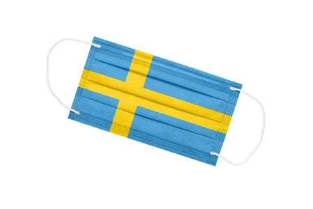 Medical face mask with flag of sweden isolated on white background. Sweden pandemic concept. attribute of coronavirus outbreak in Sweden. Medicine in Sweden.