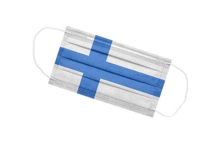 Medical face mask with flag of finland isolated on a white background. Finland pandemic concept. attribute of coronavirus outbreak in Finland. Medicine in Finland. 免版税图像