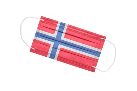 Medical mask with flag of norway isolated on white background. pandemic concept in norway. attribute of a coronavirus outbreak in Norway. Medicine in Norway.