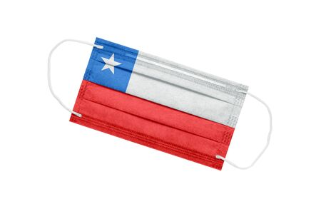 Medical mask with flag of chile isolated on white background. Chile pandemic concept. Coronavirus outbreak attribute in Chile. Medicine in Chile.
