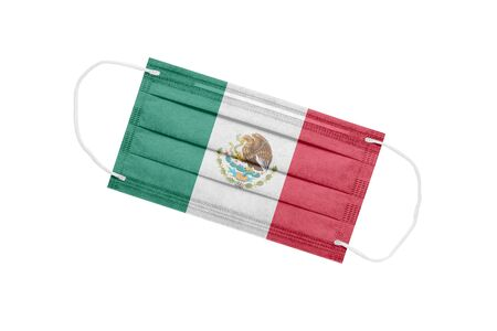 Medical mask with flag of mexico isolated on white. Mexico pandemic concept. Coronavirus outbreak attribute in Mexico. Medicine in Mexico. 免版税图像