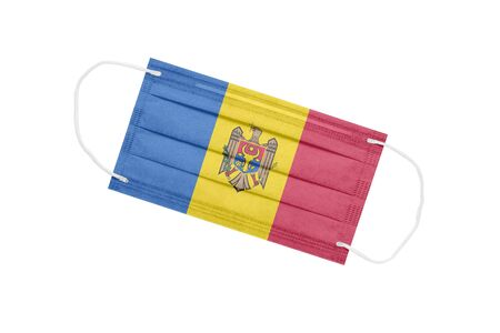 Medical mask with flag of Moldova isolated on a white background. Moldova pandemic concept. Attribute of a coronavirus outbreak in Moldova. Medicine in Moldova.