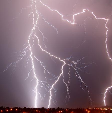 Lightning over desert