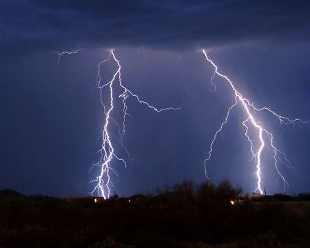 Lightning over desert Stock Photo - 2028260