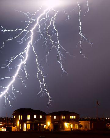 severe weather: Lighning over home