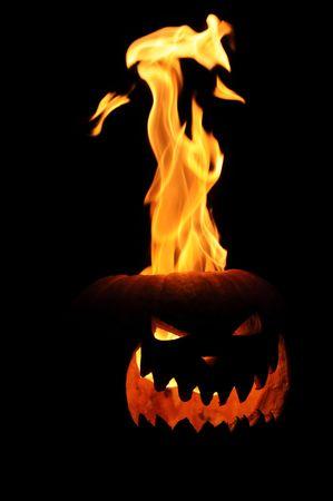 Flaming Jack O Lantern Pumpkin Imagens