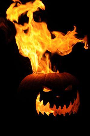 Flaming Jack O Lantern Pumpkin Imagens - 3805116