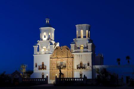 San Xavier Mission at Dusk Imagens