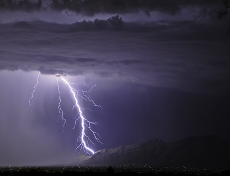 Lightning striking the Catalinas
