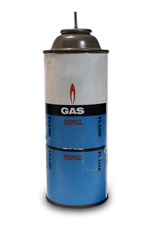 An old gas can on white background with some dust on it