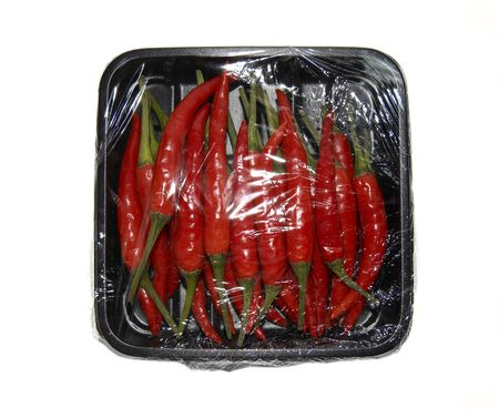red chilis in a box photo