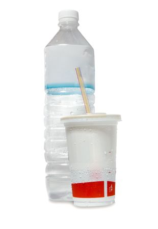 Water bottle and soda cup Stock Photo