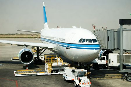 An Airbus waiting for passsengers boarding
