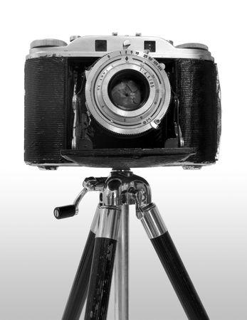 tripod mounted: Retro Camera on tripod in black&white