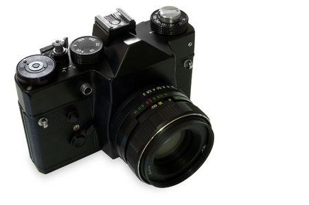 tripod mounted: Old Manual SLR Camera isolated on white background.