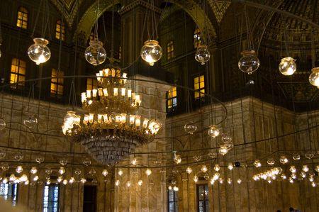 Chandelier inside Mohammed Ali Mosque in Egypt
