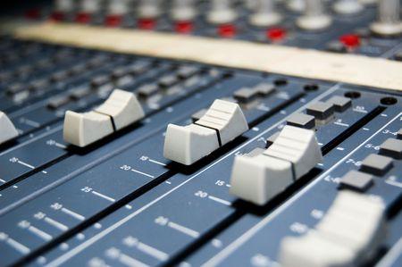 closeup of a studio mixer