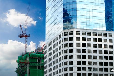 Modern Business corporate and underconstruction building. photo