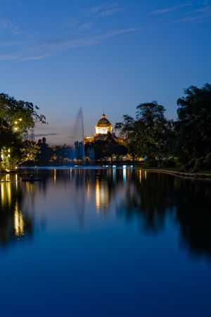 Photos of river with Thailand Parliament in the background. Stock Photo