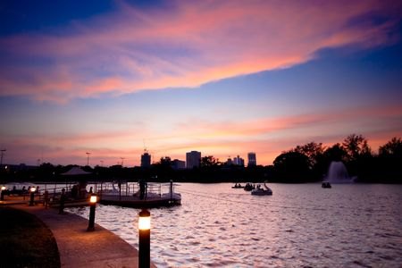 Publich park during sunset shot with wide angle lens. Stock Photo