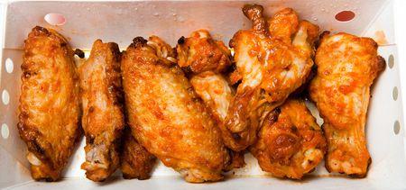 Buffalo Chicken Wings inside a box. Stock Photo