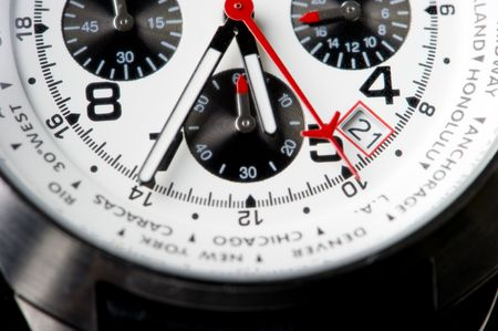 Close-up on a lower part of a wrist watch. Stock Photo
