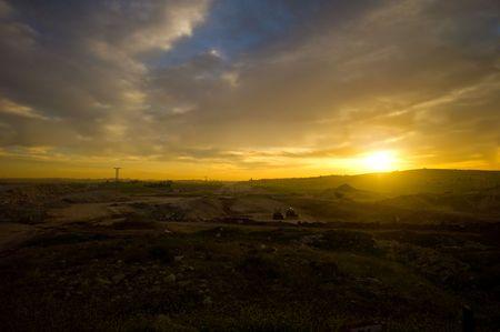 A panoramic scene of sunrise in Amman, Jorad.