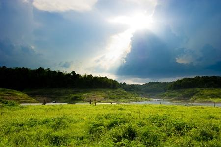 Village landscape in Kanchanaburi, Thailand.