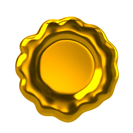 waxseal: Golden wax seal 3d rendering on white background