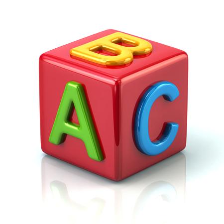 Red abc block 3d illustration on white background Stock Photo