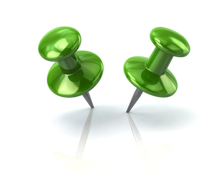 Two push green pins 3d rendering on white background