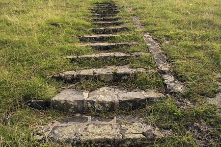 Old abandoned mossy Stairway in grass photo