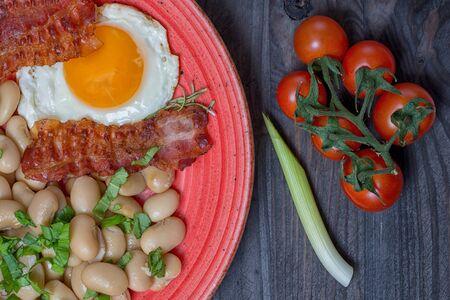 Farmer meals bean eggs bacon tomatto chilly garlic