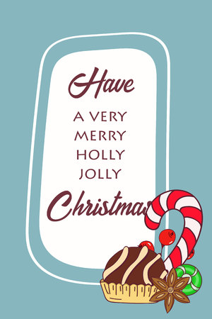 Hand drawn Christmas card. Merry Christmas and New Year typography. Cute holidays greeting card, invitation, poster and templates. Vector illustration.