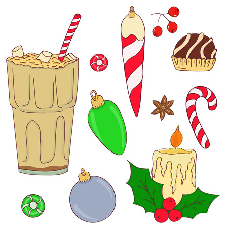 Hand drawn christmas set. Set of Christmas and New Year elements. Vector illustration.